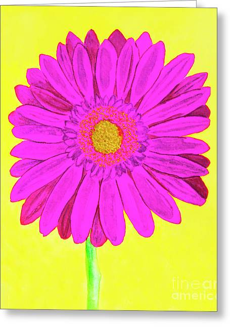 Pink Gerbera On Yellow, Watercolor Greeting Card