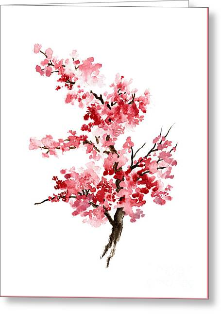 Cherry Blossom, Pink Gifts For Her, Sakura Giclee Fine Art Print, Flower Watercolor Painting Greeting Card by Joanna Szmerdt