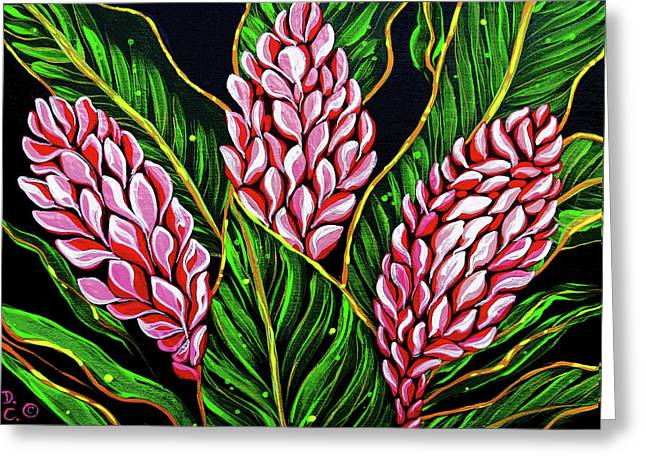 Pink Ginger Flowers Greeting Card