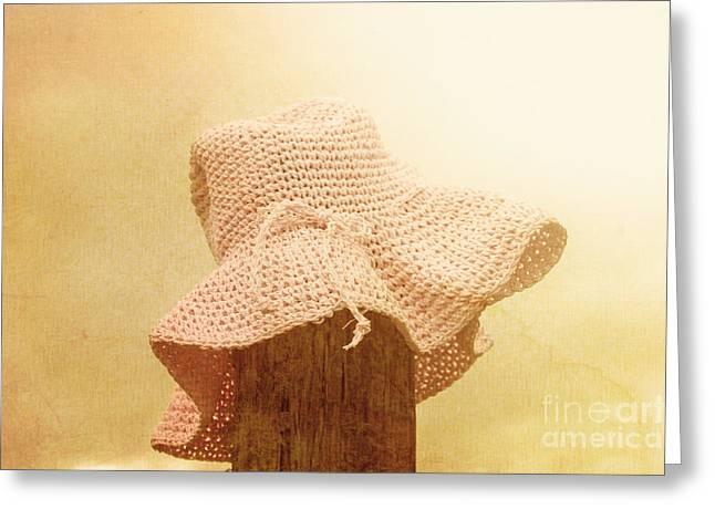 Pink Girls Hat On Farmyard Fence Post Greeting Card