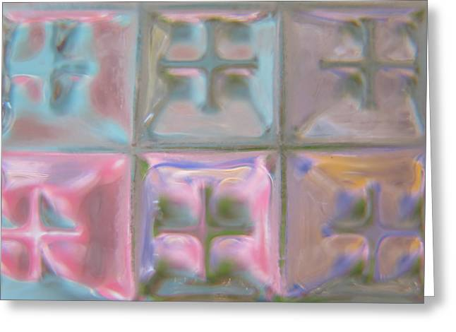 Pink Glass Quilt Greeting Card
