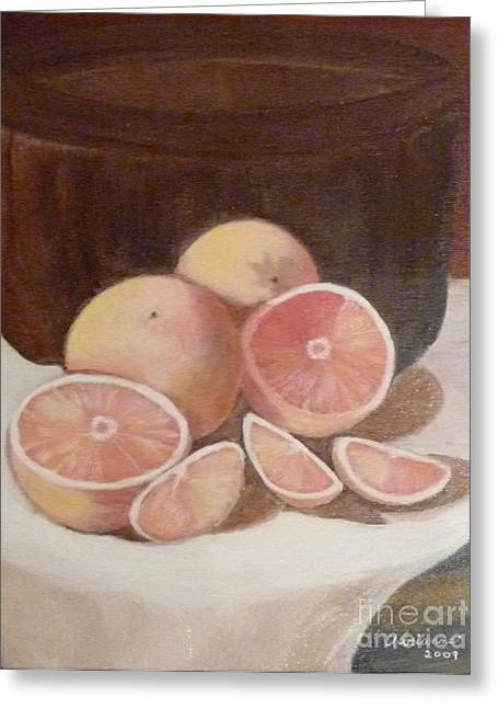 Pink Grapefruit Greeting Card by Adrianne  Wagers