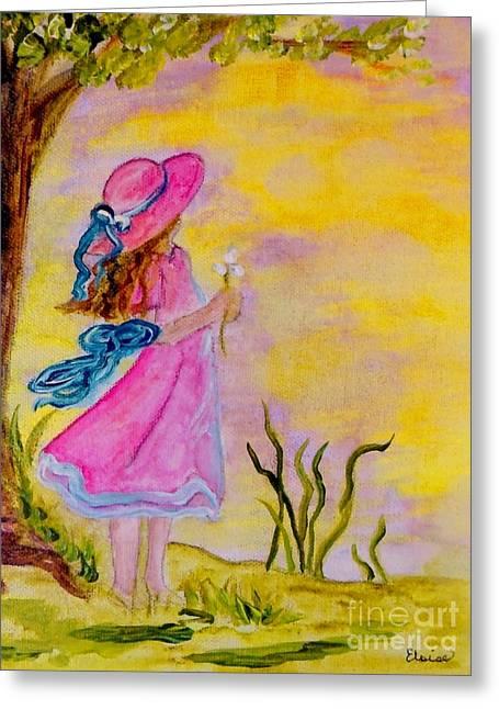 Pink Hat Greeting Card by Eloise Schneider