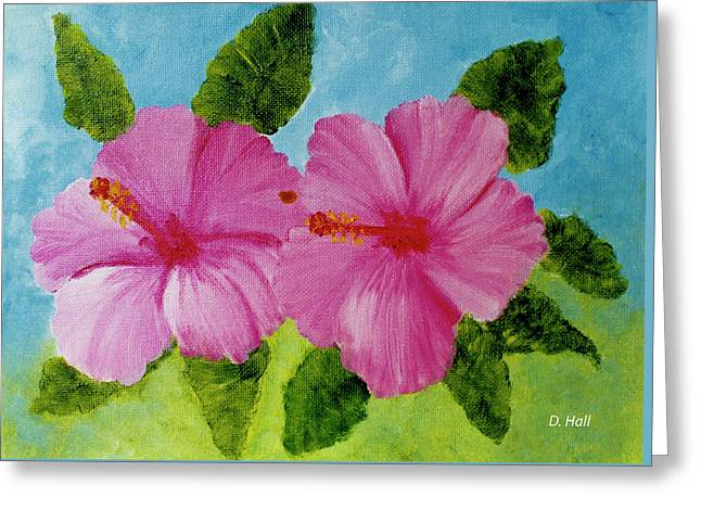 Pink Hawaiian Hibiscus Flower #23 Greeting Card by Donald k Hall