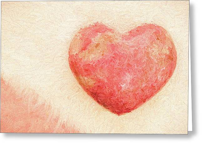 Greeting Card featuring the photograph Pink Heart Soft And Painterly by Carol Leigh