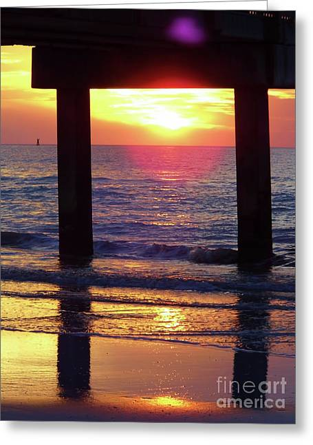 Pink Heart Sun Flare Clearwater Sunset Greeting Card by D Hackett