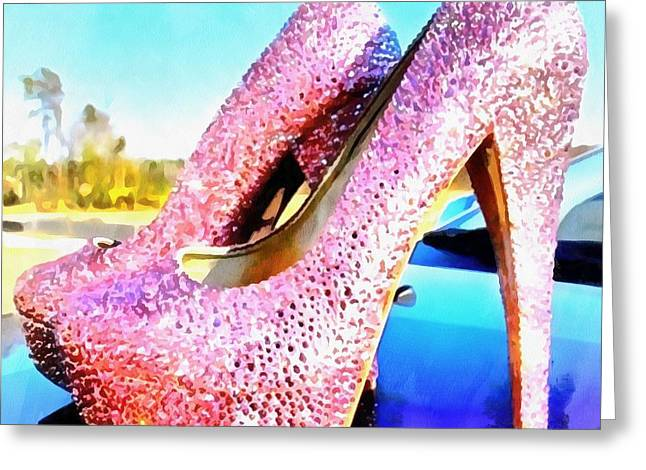 Pink Heels Paint On Paper Greeting Card by Catherine Lott