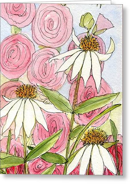 Pink Hollyhock And White Coneflowers Greeting Card