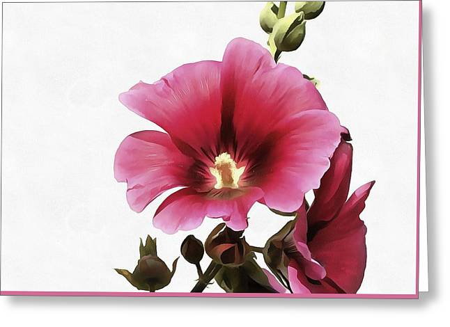 Pink Hollyhock Greeting Card by Tracey Harrington-Simpson