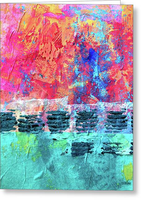Greeting Card featuring the painting Pink Horizon by Nancy Merkle