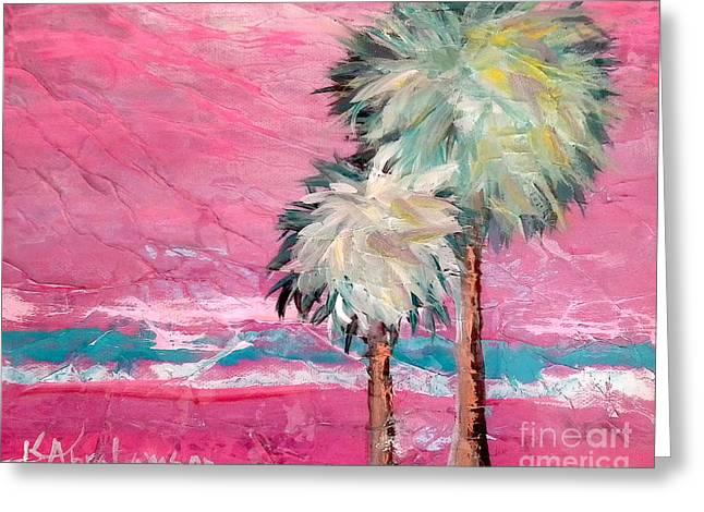Pink Horizon Palms Greeting Card