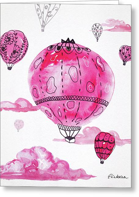 Pink Hot Air Baloons Greeting Card