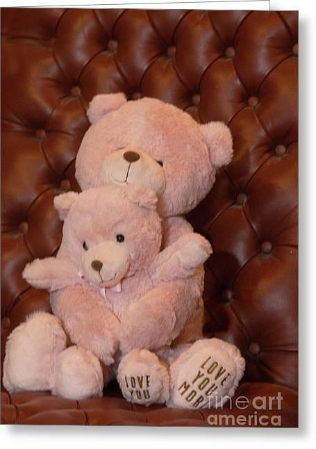 Pink Hugging Bears 2 Greeting Card