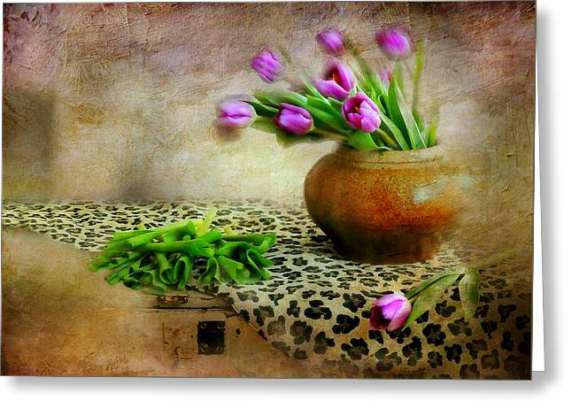 Pink In Clay Pot Greeting Card by Diana Angstadt