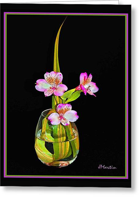 Pink In Vase Greeting Card by Joseph Martin