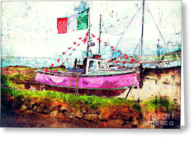 Pink Irish Boat Greeting Card by Claire Bull