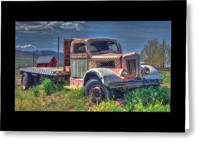 Classic Flatbed Truck In Pink Greeting Card