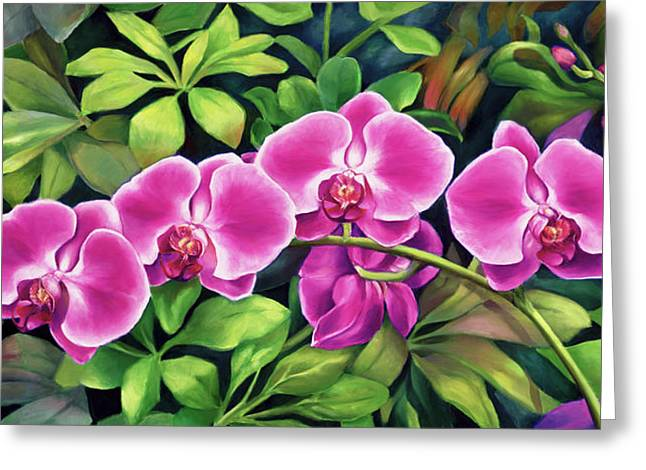 Pink Jungle Orchids Greeting Card by Nancy Tilles