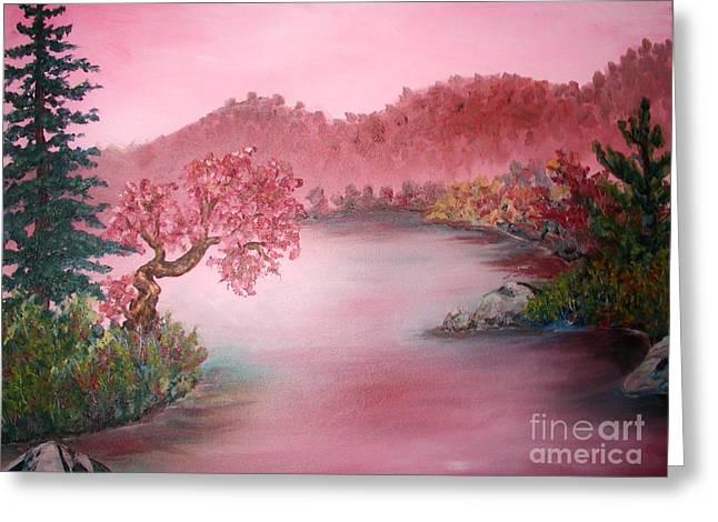Pink Lake Greeting Card by Emily Michaud