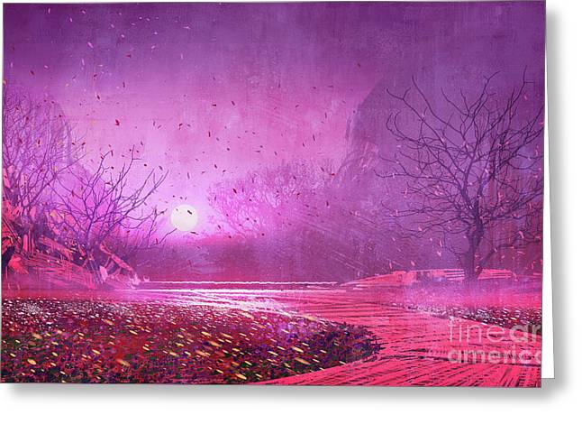 Greeting Card featuring the painting Pink Landscape by Tithi Luadthong