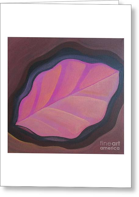 Pink Leaf Greeting Card