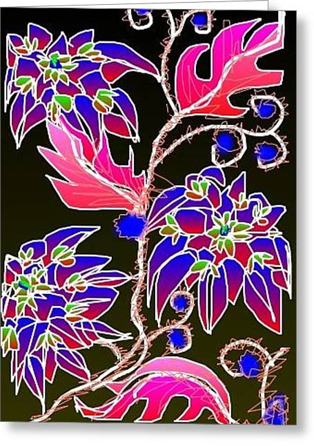 Greeting Card featuring the digital art Pink Leaves Blue Flowers by Rae Chichilnitsky