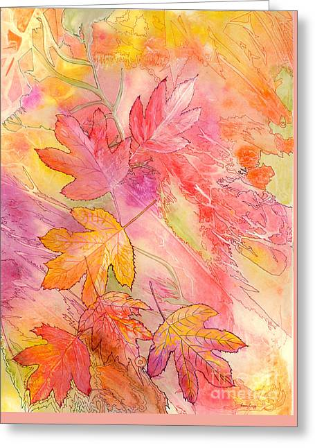 Greeting Card featuring the painting Pink Leaves by Nancy Cupp