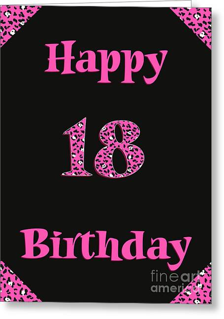 Greeting Card featuring the digital art Pink Leopard 18th Birthday by JH Designs