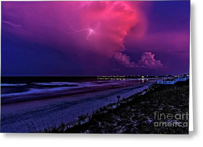 Greeting Card featuring the photograph Pink Lightning by DJA Images