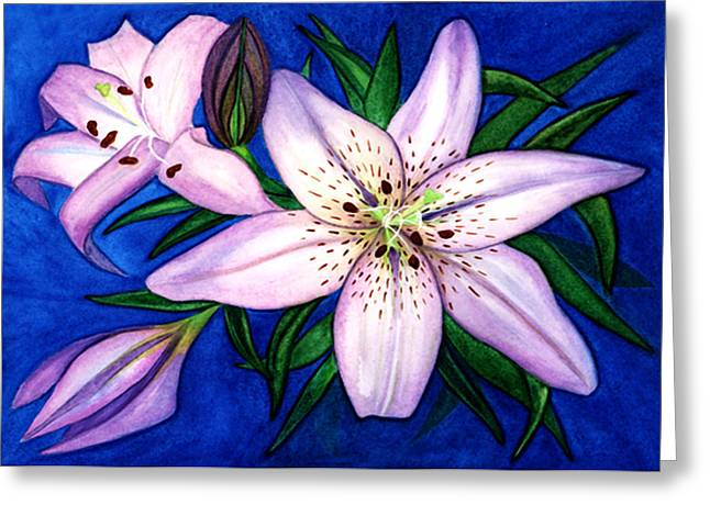 Pink Lilies Greeting Card by Stephanie  Jolley