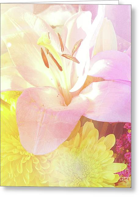 Greeting Card featuring the photograph Pink Lilies Yellow Mums by Cindy Garber Iverson