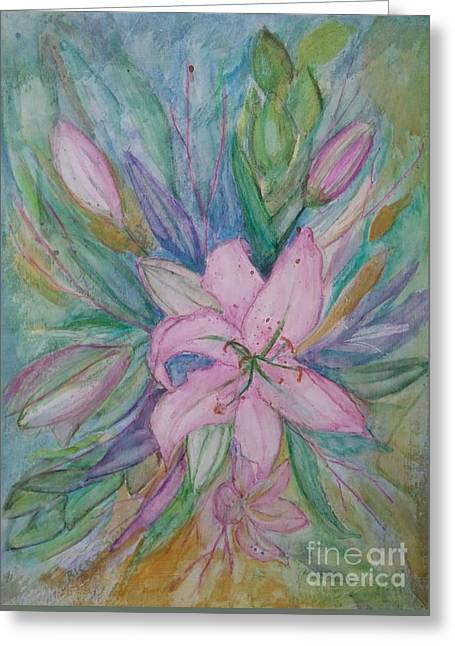 Pink Lily- Painting Greeting Card