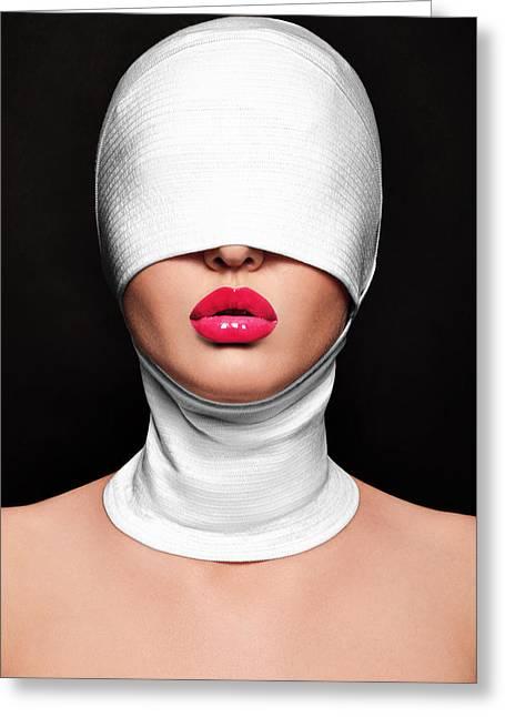 Pink Lips Greeting Card by Eivydas Timinskas