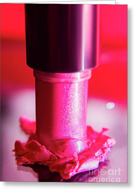 Pink Lipstick Pressed On Surface Greeting Card by Jorgo Photography - Wall Art Gallery