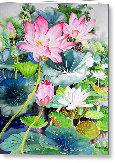 Pink Lotus And White Water Lilies Greeting Card by Vishwajyoti Mohrhoff