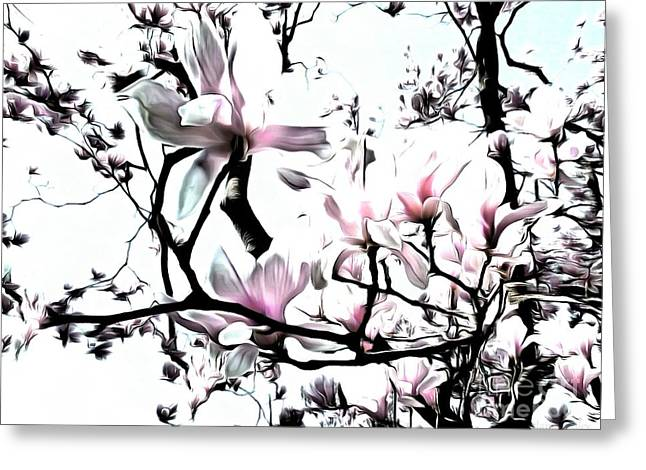 Greeting Card featuring the photograph Pink Magnolia - In Black And White  by Janine Riley