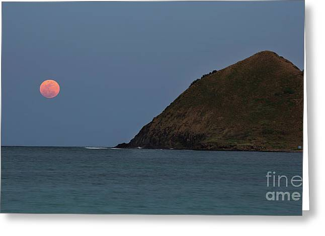 Greeting Card featuring the photograph Pink Moon And Moku Iki by Charmian Vistaunet