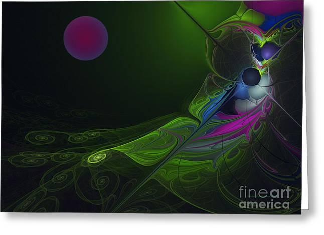 Greeting Card featuring the digital art Pink Moon by Karin Kuhlmann