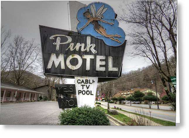 Pink Motel Sign Maggie Valley North Carolina Greeting Card by Jane Linders