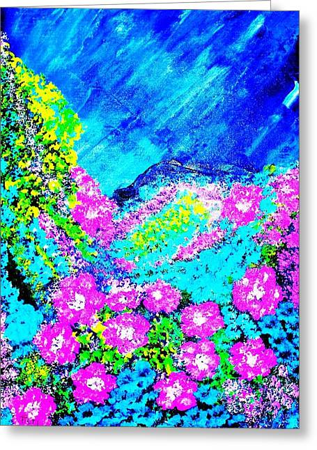 Greeting Card featuring the painting Pink N Blue by Piety Dsilva