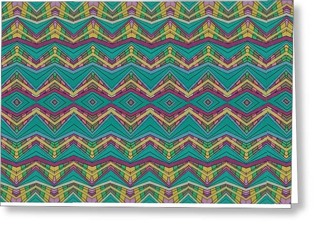 Pink O As Pattern Greeting Card by Modern Metro Patterns and Textiles