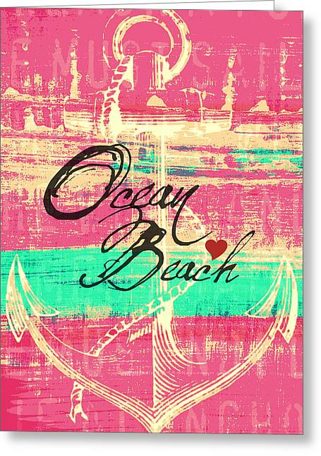 Pink Ocean Beach Anchor Greeting Card