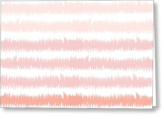 Pink Ombre Ikat Stripe- Art By Linda Woods Greeting Card