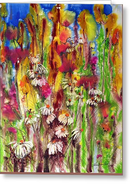 Pink On The Side Greeting Card by Shirley Sykes Bracken