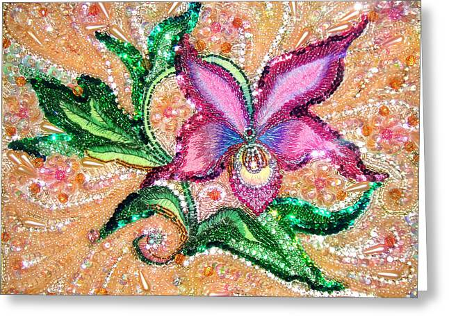 Pink Orchid Jeweled Bead Embroidery Greeting Card