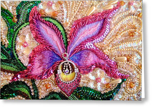 Pink Orchid Fantasy Jeweled Beadwork  Greeting Card