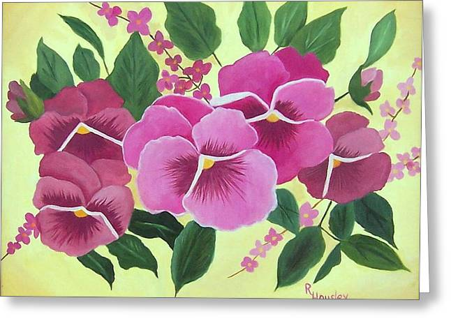Pink Pansies Sold Greeting Card by Ruth  Housley