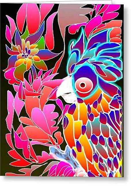 Greeting Card featuring the digital art Pink Parrot by Rae Chichilnitsky