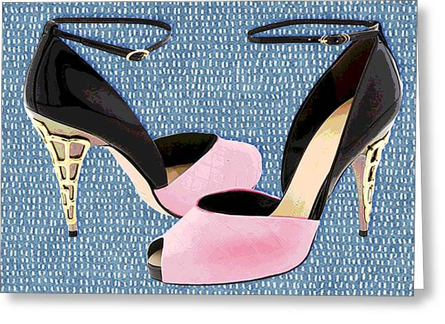 Pink Patent Leather With Sculpted Metal Heels Greeting Card by Elaine Plesser