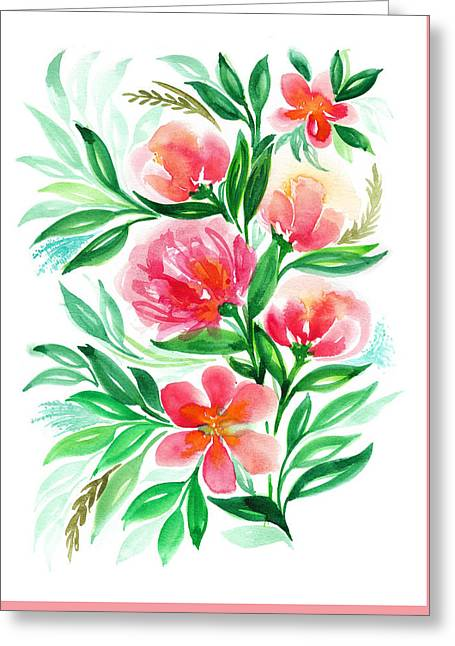 Pink Peach Peony And Rose Flower In Watercolor Greeting Card by My Art
